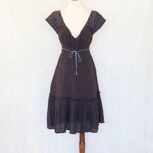 Free People Textured Cotton Smocked Waist Dress